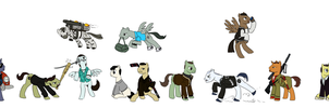 Ponified GTA protagonists (GTA2 to GTA V) by King-Kakapo