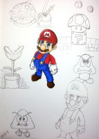 Super Mario sketches by TaliShemes