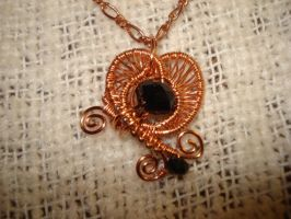 Copper Heart Pendant With Copper Chain by Toowired