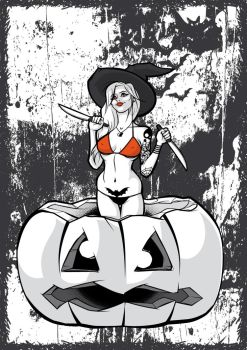 The Witch - Black and White and Orange by Satanisapunk