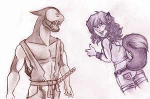 Red lizard and Sue by Eyeless1703