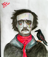 Edgar Allan Poe and the Raven by dannartwork