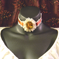 Beige and Copper Lace Choker with Floral Cabochon by MorganCrone