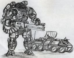 Mech standing guard by chaos-sandwhich