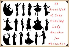 18 Beautiful and Sexy Dancing Lady Brushes by Jiangsir