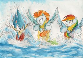 Race through the lake by SoulEaterSaku90