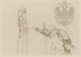 A Knight and His Lady by WolfBiyo