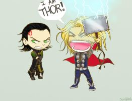 Chibi Thor and Loki!!! by Scribblerb
