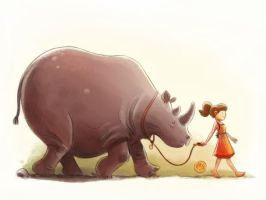 Girl Walking a Rhino by mikemaihack