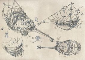 The Pirate Band - Ship Sketches by soulfinder90