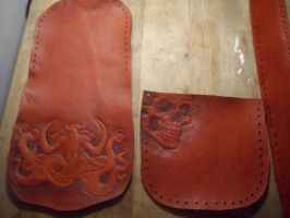 Leather party bag with octophant and skull by smashy-bone