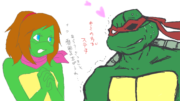 TMNT P-chat Mona Lisa and Raph by theblindalley