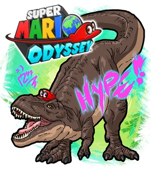 -Super T-Rex Mario- HYPE!!! by blue-hugo