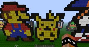 Minecraft Pixel Art Retro Pikachu by REV3LATIONS