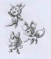 Pokemon XY: Generation 6 starters (Black/White) by PinkPalkia