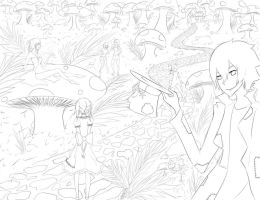 Soul Eater in Wonderland Lineart by icaraus
