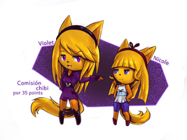 +:.comision chibi 07.:+ ~Violet and Nicole~ by Zombiezul