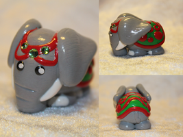 A little elephant with Christmas colors (FOR SALE) by AnimalisCreations