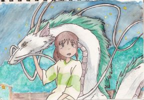 Chihiro and dragon Haku by bluepenguine