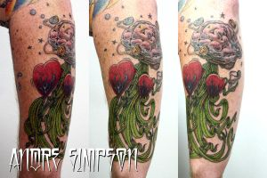 Brain with tenticles tattoo by ERASOTRON