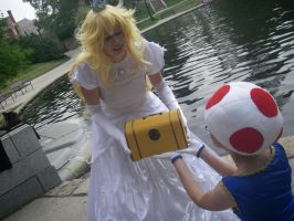 Give this to Mario - Peach and Toad - Spring '12 by FuzzyRedPants