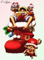 Happy Holidays from Luffy and Chopper by PhantomRed17