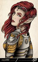 Elf Girl In Armour by Sam-Phillips-NZ