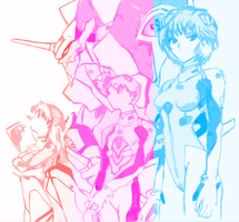 Asuka, Shinji, Rei -Color- by chr5d50