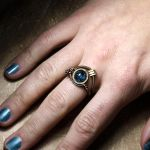 Blue steampunk Crackle Ring by CatherinetteRings