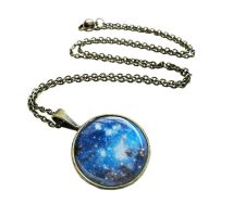 Antique Bronze Blue Cosmic Galaxy Necklace by crystaland