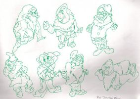 Seven Dwarfs - Snow White by Rand0mD00dles