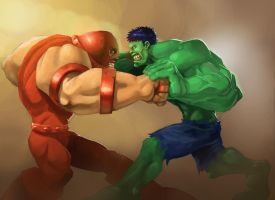 Hulk Vs Juggernaut by wolf166