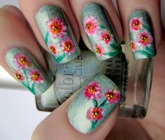 Spring Flowers Hand Painted Nail Art by soyoubeauty