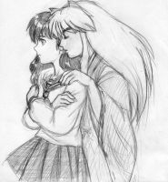 Inu Yasha and Kagome by heatherbunny