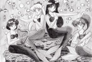 Sailor Senshi inners mermaids by SailorMiha