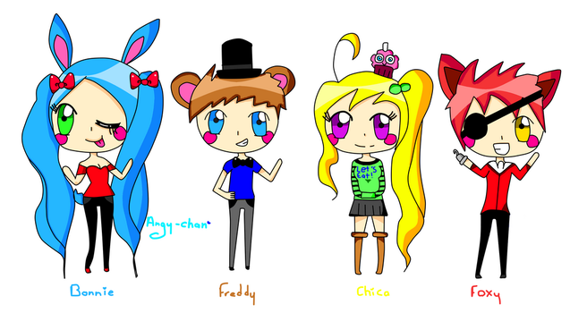 Five Nights At Freddy's Anime Chibis by angy-chan44