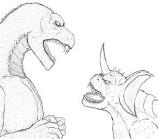 Godzilla vs Baragon by ContentialChampion