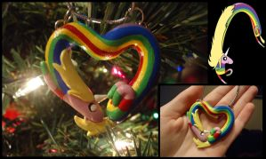 Lady Rainicorn Heart Ornament/Necklace by SaltESweet