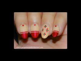 Dot Flowers and Red Tips by Gorgeousnails