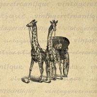 Giraffe Carriage Antique Digital Graphic No.298 by VintageRetroAntique