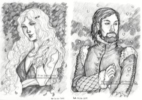 Portrait commissions: Selena and Greyann by Luciana-Lu