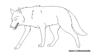 Walking Wolf - Lineart by xXDemonSoulXx