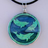 Custom Dolphins Fused Glass by FusedElegance