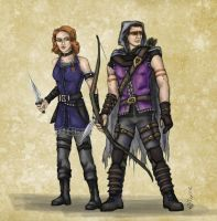 DnD Avengers:  Hawkeye and Black Widow by mcat711