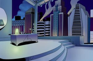 Lexcorp office at night by NCredibleCarl