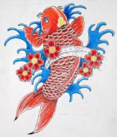 Koi tattoo color drawing by bsguru