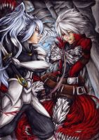 Against the Dark One - Ragna vs Hakumen by Curse-of-Lolth