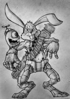 Robot Bunny and silly alien by nemesis222