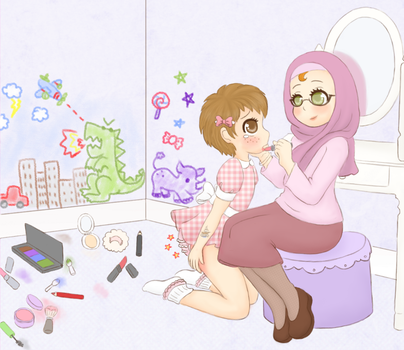 Make-Up Mess - A Commission for Crash by Pastel-Hime