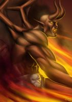 Demon... with horns ... and fire by Deslaias
